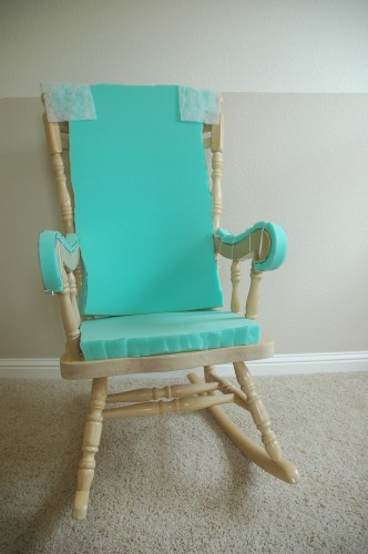 Adding comfort to a wooden rocking chair part two makely - Rocking chair cushion diy ...