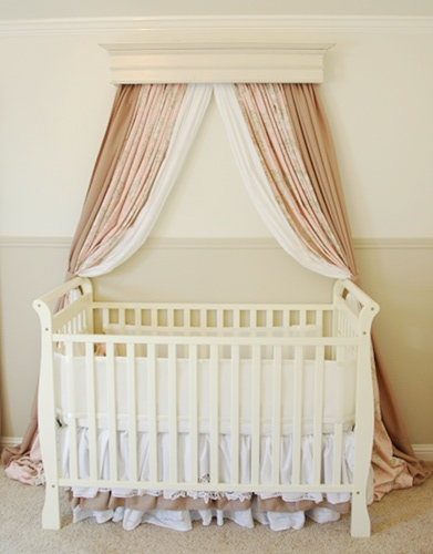 How to create a bed crown makely school for girls for Drapes over crib