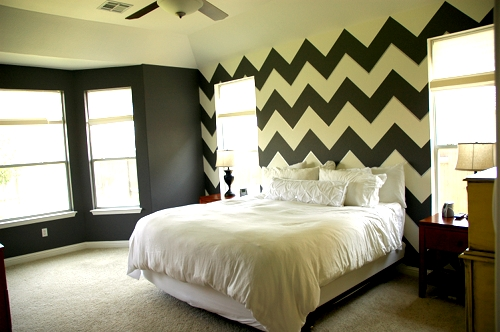 The Two Gray Walls Dark Granite By Behr And White Ceiling Ed Snow Were Easy Chevrons Or Zig Zags As Tom Insists We Call Them
