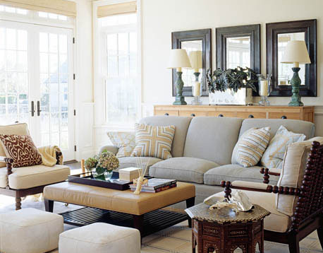 coastal living room with brown couch 31 days to an eclectic home day 26 mixing wood tones 723
