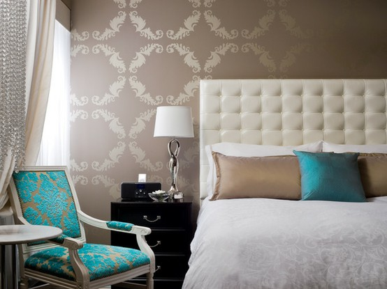 31 days to an eclectic home day 8 wallpaper makely - Turquoise wallpaper for walls ...
