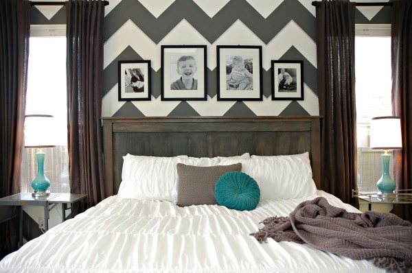 Diy farmhouse headboard bed chevron zig zag gray white teal for Zig zag bedroom ideas