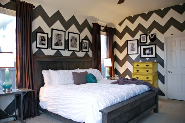 Gray white chevron zig zag bedroom yellow teal Master bedroom with yellow walls