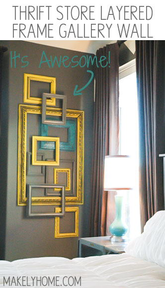This is such an inexpensive way to create art in a big space - Thrift store frames used to make a layered frame gallery wall via MakelyHome.com