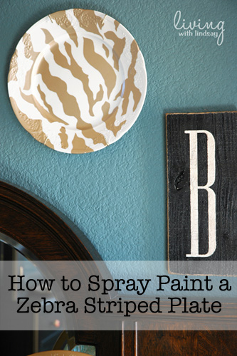 How to Spray Paint a Zebra Striped Plate - Makely