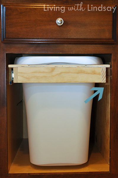 How to build a pull out trash and recycling bin makely - Small pull out trash can ...