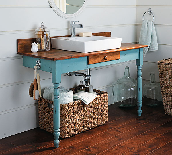 How to build a bathroom vanity from an old dining table for Recycled bathroom sinks