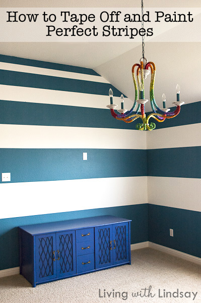 How to tape and paint crisp level stripes makely school for Painting stripes on walls in kids room