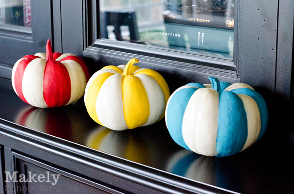 Easy 2 Striped Painted Pumpkins