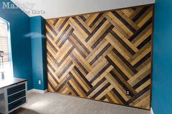 Diy Herringbone Wood Paneled Wall Makely School For Girls