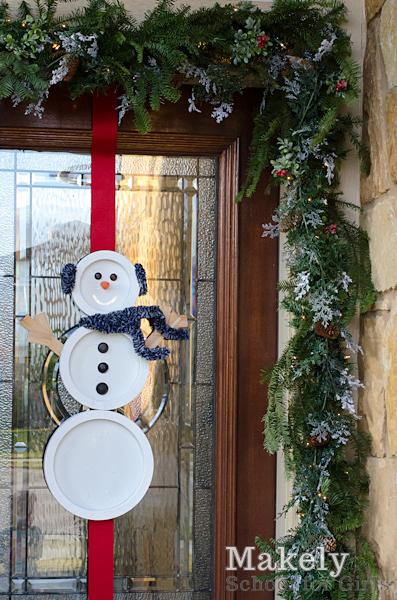 Diy Mirrored Snowman Door Hanging Wreath