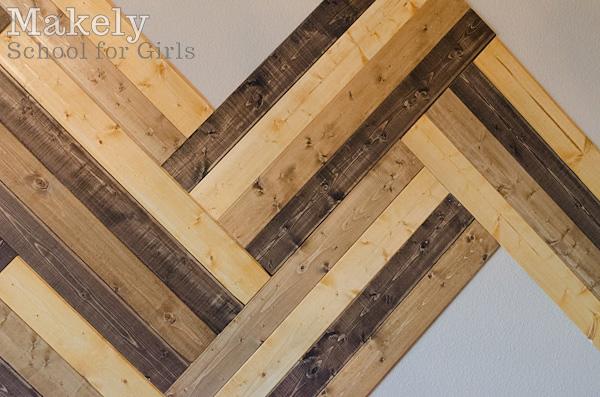 Diy Herringbone Wood Paneled Wall Makely School For Girls