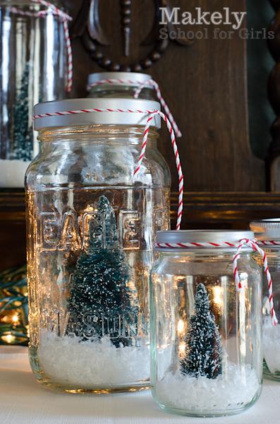Cheap And Easy DIY Christmas Tree Repurposed Jar Snow Globes