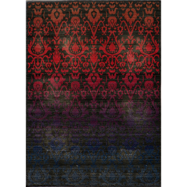 Captivating Hand Sheared Ikat Fire Multicolor Wool Rug Via Overstock