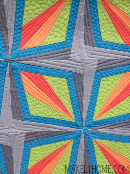 Stunning mini-quilt - teal, green, orange, gray - Dazzling Diamond by Jen Sorenson | MakelyHome.com