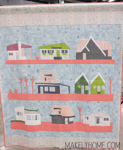 Midcentury Modern houses on a modern art quilt - Local by Carolyn Friedlander (she has patters and fabric available on her site) | MakelyHome.com