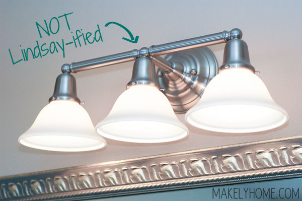 Brushed Nickel Builders Grade Bathroom Vanity Light Via MakelyHome.com