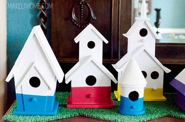 dipped paint birdhouses