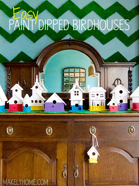 paint dipped birdhouse craft