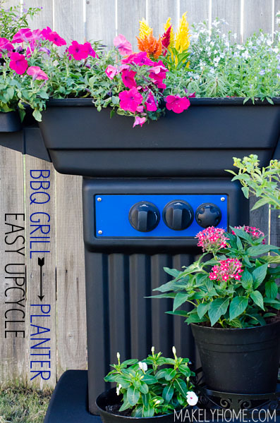 Old, broken BBQ grill turned into an amazing flower planter in this easy upcycle! via MakelyHome.com