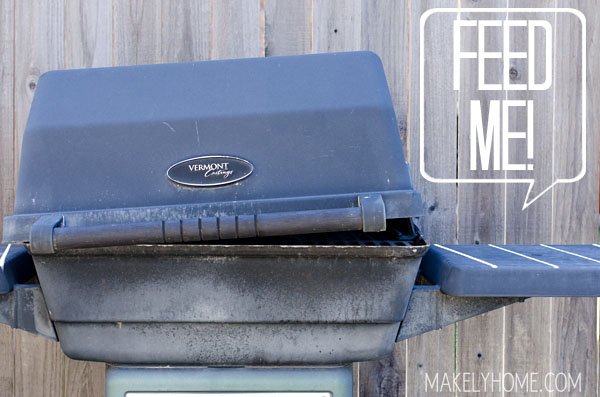 Old broken BBQ grill - soon to be tuned into a flower planter!  via MakelyHome.com