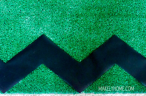 Artificial Grass Chevron Feature Wall via MakelyHome.com