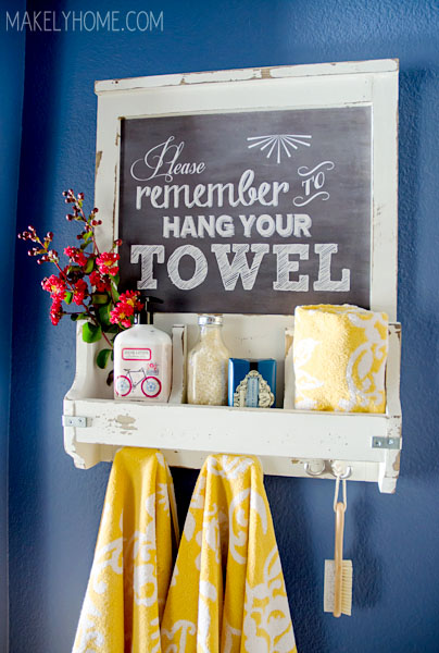 DIY Faux Chalkboard Bathroom Storage and Towel Hooks via Makely School for Girls