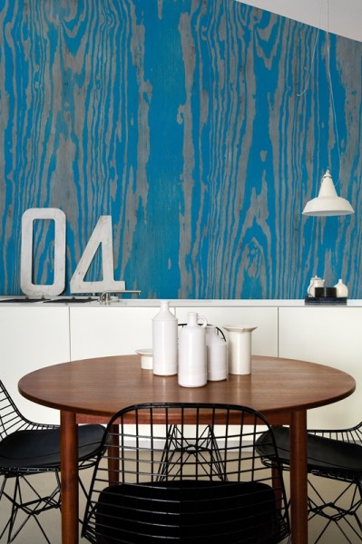 Stained Pine Plywood Feature Wall