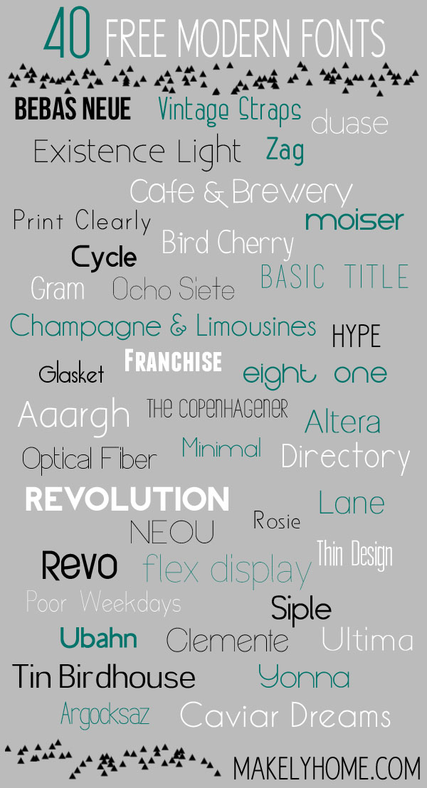 40 Free Modern Fonts via MakelyHome.com
