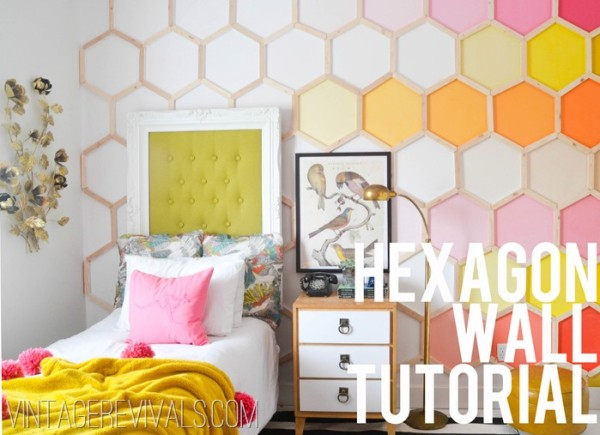 DIY Honeycomb Feature Wall via VintageRevivals.com