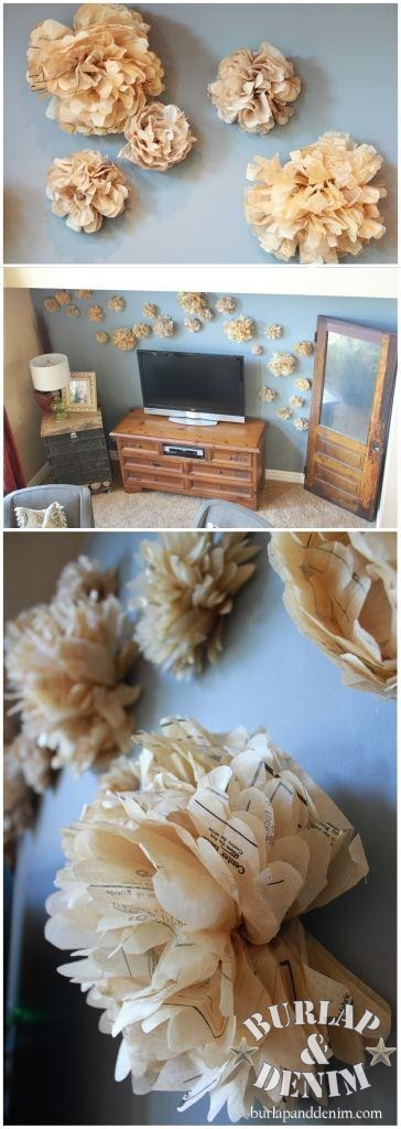 Sewing Pattern Tissue Flowers Feature Wall