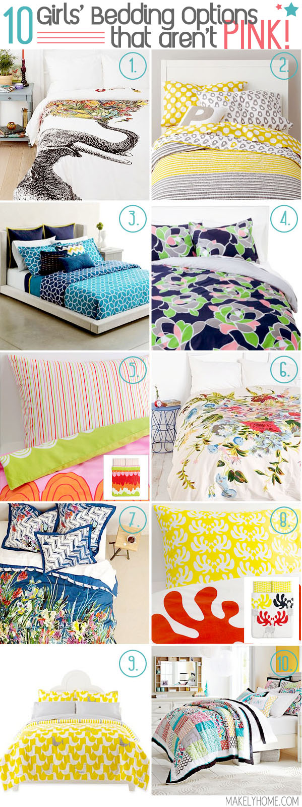 Ten Girls' Bedding Options that Aren't PINK!  via MakelyHome.com