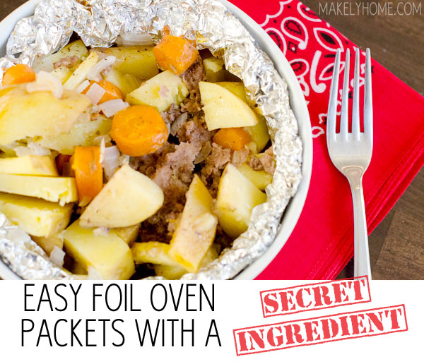 Easy Oven Foil Packet Recipe {with a secret ingredient!} via MakelyHome.com