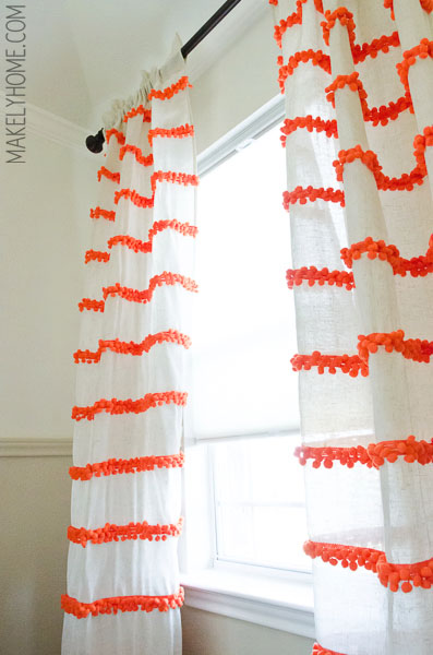 White Curtains With Pom Poms