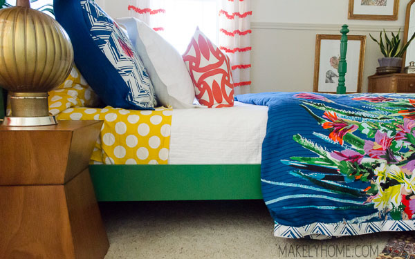 How to refinish a Craigslist cast off to an emerald green bed via MakelyHome.com
