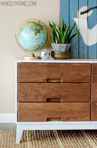 How to Make a Midcentury Modern Inspired Two Tone Dresser Makely
