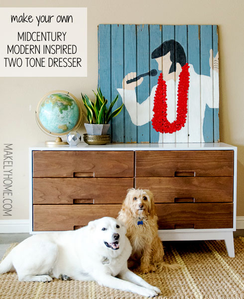 how to finish a midcentury modern inspired two tone dresser via MakelyHome.com