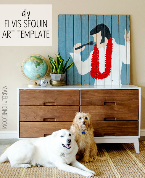 DIY Elvis sequin art tutorial with template via MakelyHome.com
