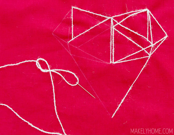 How to Make a Geometric Heart Throw Pillow via MakelyHome.com
