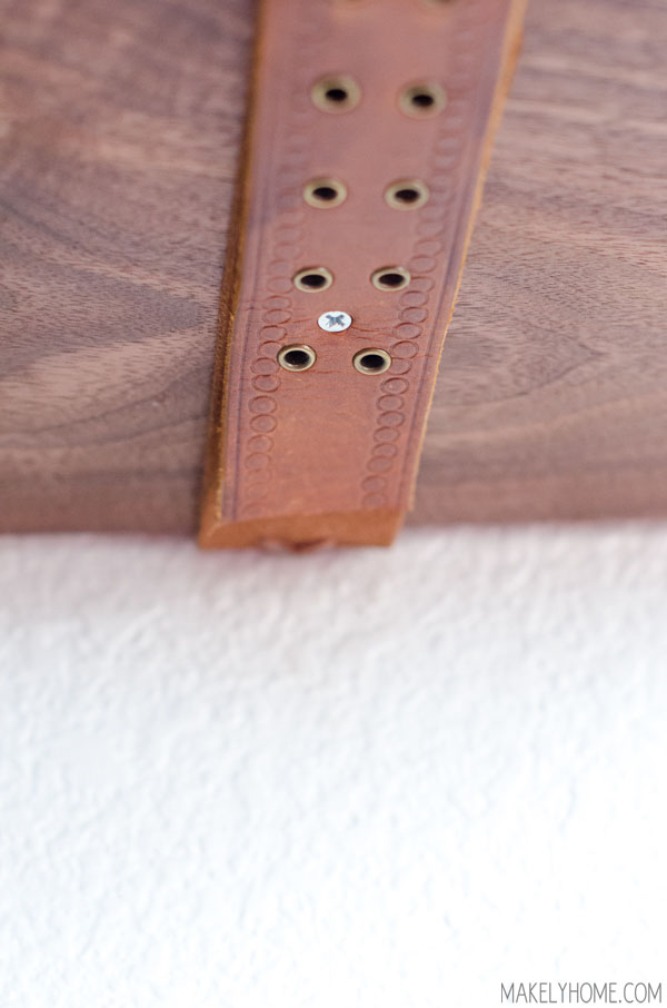 live edge wood & leather belt shelves via MakelyHome.com