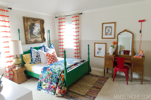 Little girl's bold and eclectic bedroom via MakelyHome.com
