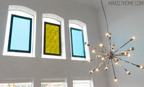 midcentury modern plastic decorator panels turned window hangings via MakelyHome.com