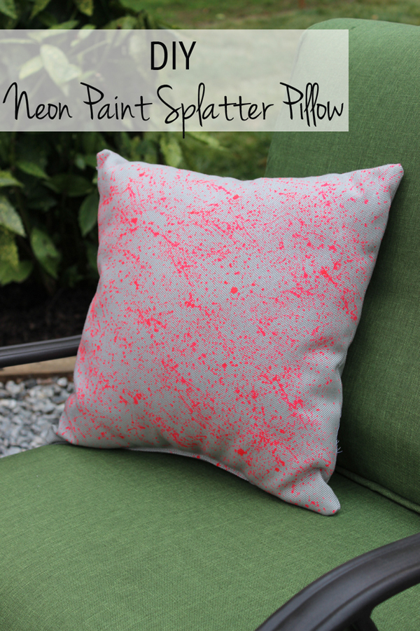 DIY Neon Paint Splatter Pillow