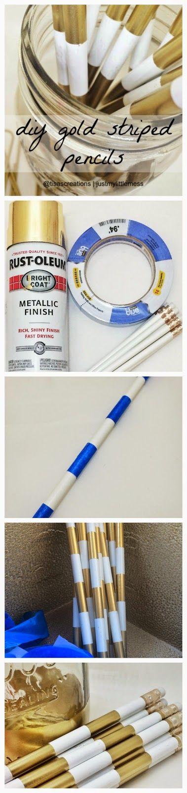 DIY gold striped pencils