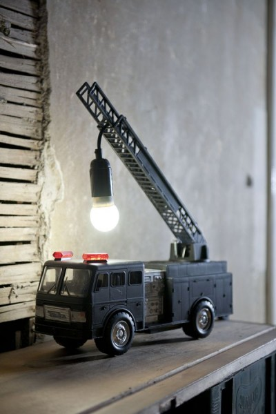 Upcycled Firetruck Lamp