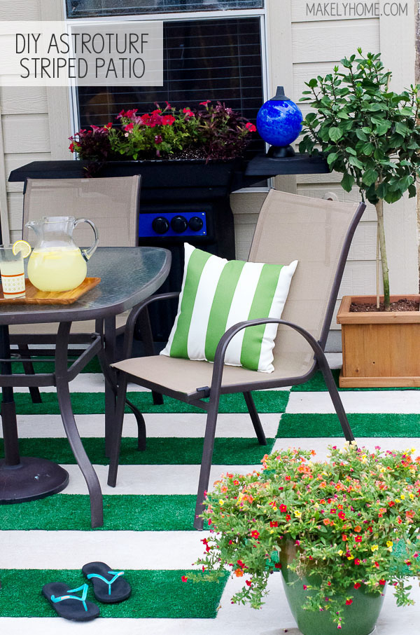DIY Astroturf Striped Patio Rug