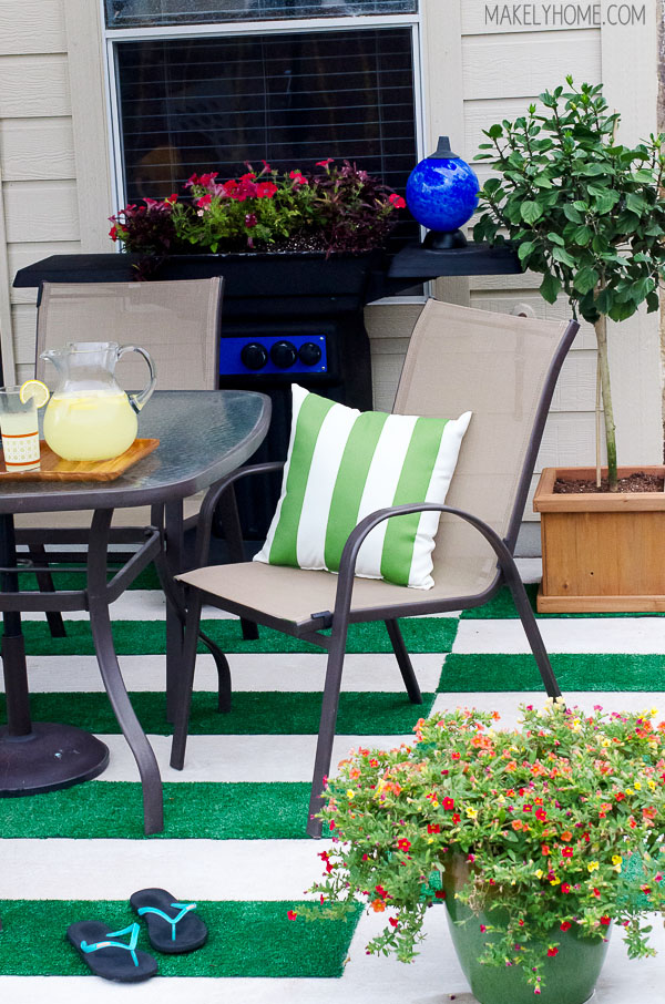 Diy Astroturf Grass Striped Patio Rug Makely