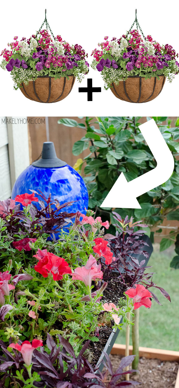 Transplant plants from hanging baskets into a patio container for immediate lushness and fullness.