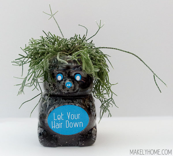 DIY Bear Planter from Plastic Animal Cracker Jar