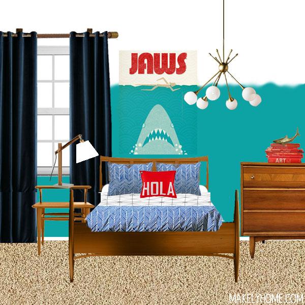 Mid Century Modern boy's room moodboard